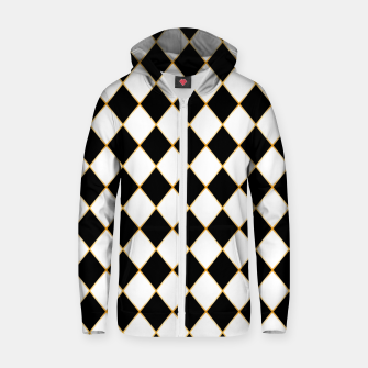 Thumbnail image of Chess board pattern with gold lines. Zip up hoodie, Live Heroes
