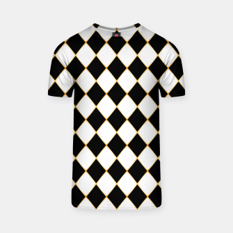 Thumbnail image of Chess board pattern with gold lines. T-shirt, Live Heroes