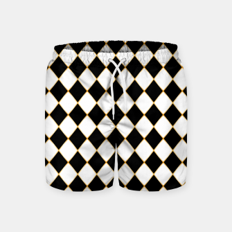 Thumbnail image of Chess board pattern with gold lines. Swim Shorts, Live Heroes