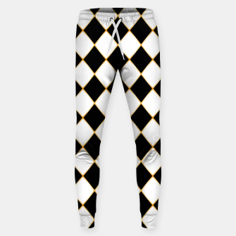 Thumbnail image of Chess board pattern with gold lines. Sweatpants, Live Heroes