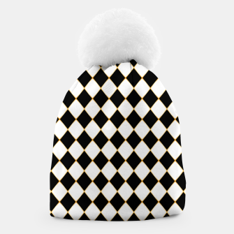 Thumbnail image of Chess board pattern with gold lines. Beanie, Live Heroes