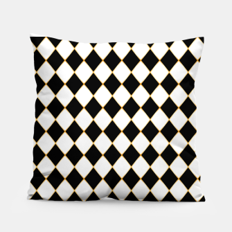 Thumbnail image of Chess board pattern with gold lines. Pillow, Live Heroes