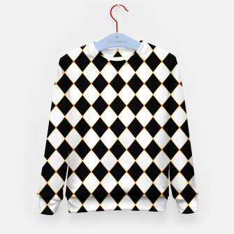 Thumbnail image of Chess board pattern with gold lines. Kid's sweater, Live Heroes