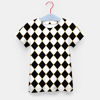 Thumbnail image of Chess board pattern with gold lines. Kid's t-shirt, Live Heroes