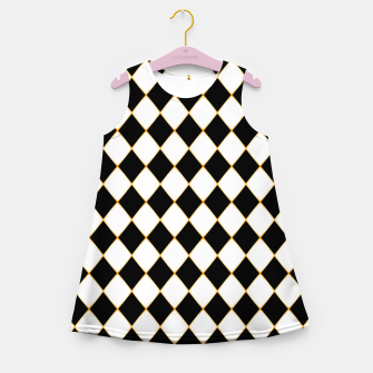 Thumbnail image of Chess board pattern with gold lines. Girl's summer dress, Live Heroes