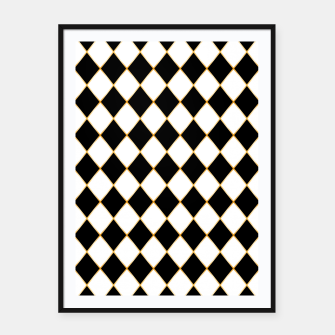 Thumbnail image of Chess board pattern with gold lines. Framed poster, Live Heroes