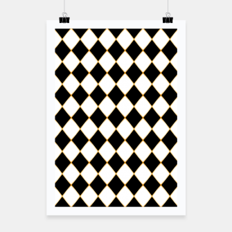 Thumbnail image of Chess board pattern with gold lines. Poster, Live Heroes