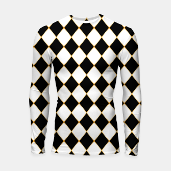 Thumbnail image of Chess board pattern with gold lines. Longsleeve rashguard , Live Heroes