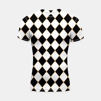 Thumbnail image of Chess board pattern with gold lines. Shortsleeve rashguard, Live Heroes