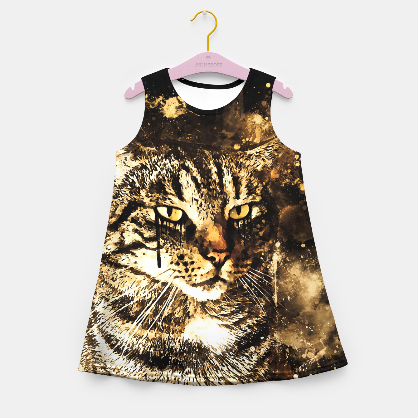 Image of koko the cat wssepia Girl's summer dress - Live Heroes