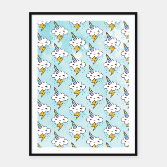 Thumbnail image of Stormy Cloudycorn Cute kawaii Framed poster, Live Heroes