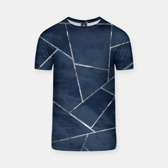 Miniaturka Midnight Navy Blue Ink Silver Geometric Glam #1 #geo #decor #art  T-Shirt, Live Heroes