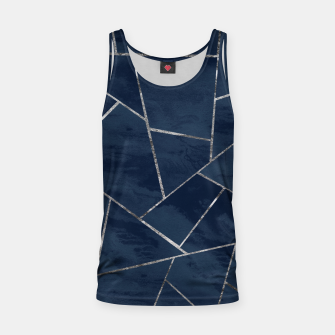 Thumbnail image of Midnight Navy Blue Ink Silver Geometric Glam #1 #geo #decor #art  Muskelshirt , Live Heroes