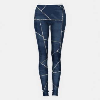 Miniaturka Midnight Navy Blue Ink Silver Geometric Glam #1 #geo #decor #art  Leggings, Live Heroes