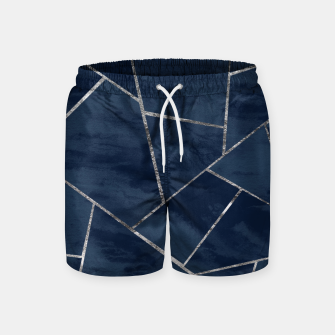 Thumbnail image of Midnight Navy Blue Ink Silver Geometric Glam #1 #geo #decor #art  Badeshorts, Live Heroes
