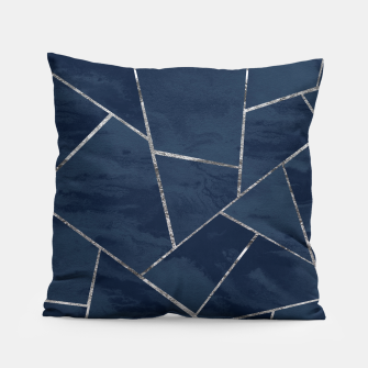 Thumbnail image of Midnight Navy Blue Ink Silver Geometric Glam #1 #geo #decor #art  Kissen, Live Heroes