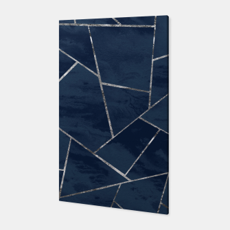 Miniaturka Midnight Navy Blue Ink Silver Geometric Glam #1 #geo #decor #art  Canvas, Live Heroes