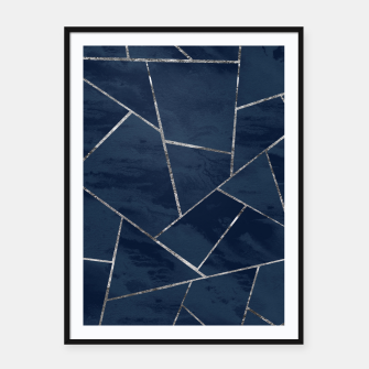 Thumbnail image of Midnight Navy Blue Ink Silver Geometric Glam #1 #geo #decor #art  Plakat mit rahmen, Live Heroes