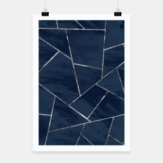 Miniaturka Midnight Navy Blue Ink Silver Geometric Glam #1 #geo #decor #art  Plakat, Live Heroes