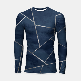 Thumbnail image of Midnight Navy Blue Ink Silver Geometric Glam #1 #geo #decor #art  Longsleeve rashguard, Live Heroes