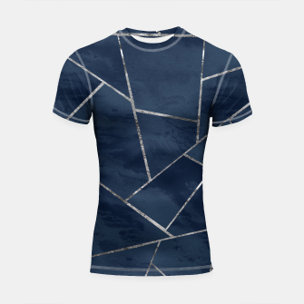 Thumbnail image of Midnight Navy Blue Ink Silver Geometric Glam #1 #geo #decor #art  Shortsleeve rashguard, Live Heroes