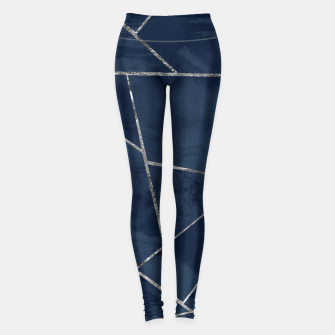 Thumbnail image of Midnight Navy Blue Ink Silver Geometric Glam #1 #geo #decor #art  Leggings, Live Heroes