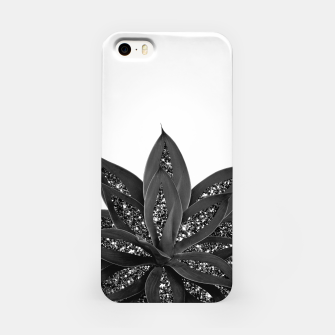 Thumbnail image of Gray Black Agave with Black Silver Glitter #1 #shiny #tropical #decor #art iPhone-Hülle, Live Heroes