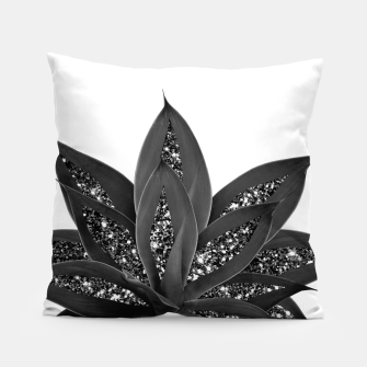 Thumbnail image of Gray Black Agave with Black Silver Glitter #1 #shiny #tropical #decor #art Kissen, Live Heroes