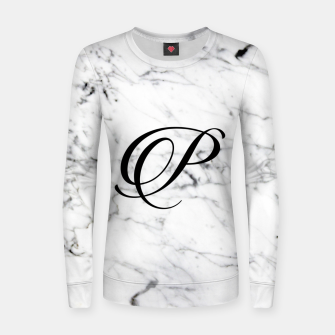 Miniatur Abstract natural marble texture and alphabet P Women sweater, Live Heroes