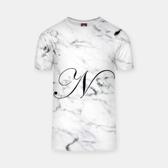 Miniaturka Abstract natural marble texture and alphabet N T-shirt, Live Heroes