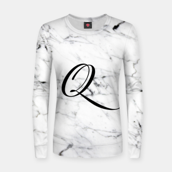 Miniatur Abstract natural marble texture and alphabet Q Women sweater, Live Heroes