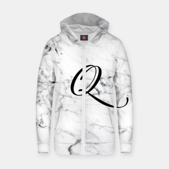 Miniaturka Abstract natural marble texture and alphabet Q Zip up hoodie, Live Heroes