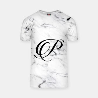 Miniaturka Abstract natural marble texture and alphabet P T-shirt, Live Heroes