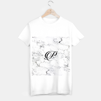 Thumbnail image of Abstract natural marble texture and alphabet P T-shirt regular, Live Heroes