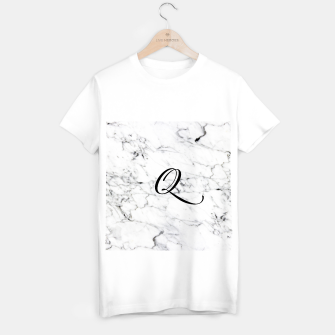 Thumbnail image of Abstract natural marble texture and alphabet Q T-shirt regular, Live Heroes