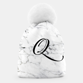 Miniature de image de Abstract natural marble texture and alphabet Q Beanie, Live Heroes