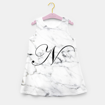 Miniatur Abstract natural marble texture and alphabet N Girl's summer dress, Live Heroes