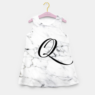 Miniatur Abstract natural marble texture and alphabet Q Girl's summer dress, Live Heroes