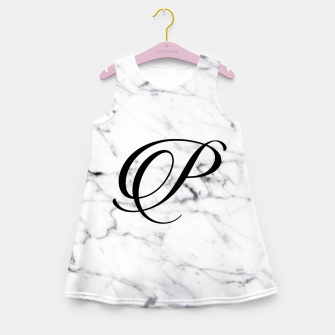 Miniatur Abstract natural marble texture and alphabet P Girl's summer dress, Live Heroes