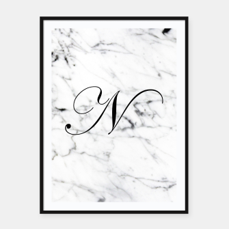 Thumbnail image of Abstract natural marble texture and alphabet N Framed poster, Live Heroes