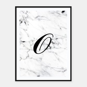 Thumbnail image of Abstract natural marble texture and alphabet O Framed poster, Live Heroes