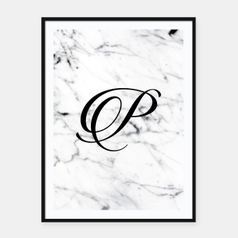 Thumbnail image of Abstract natural marble texture and alphabet P Framed poster, Live Heroes