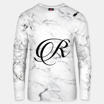 Miniature de image de Abstract natural marble texture and alphabet R Unisex sweater, Live Heroes