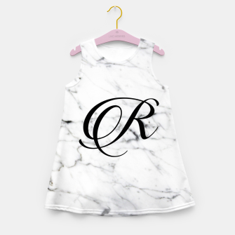 Miniatur Abstract natural marble texture and alphabet R Girl's summer dress, Live Heroes