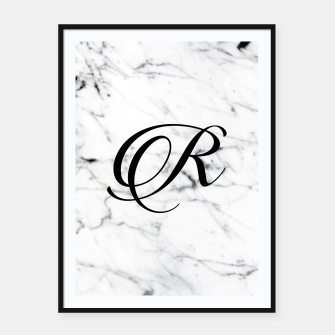 Thumbnail image of Abstract natural marble texture and alphabet R Framed poster, Live Heroes