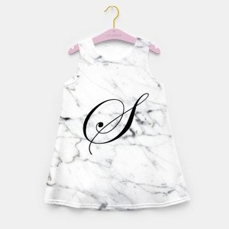Miniatur Abstract natural marble texture and alphabet S Girl's summer dress, Live Heroes