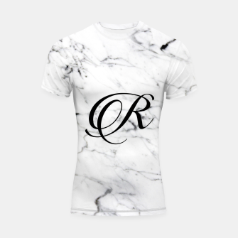 Miniature de image de Abstract natural marble texture and alphabet R Shortsleeve rashguard, Live Heroes