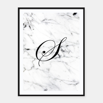 Thumbnail image of Abstract natural marble texture and alphabet S Framed poster, Live Heroes