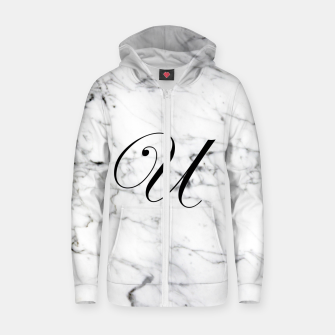 Miniaturka Abstract natural marble texture and alphabet U Zip up hoodie, Live Heroes