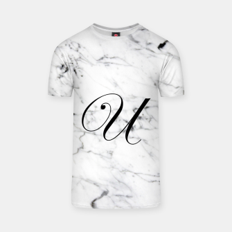 Miniaturka Abstract natural marble texture and alphabet U T-shirt, Live Heroes